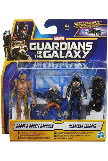 Figuras Groot, Rocket Raccoon & Sakaaran Trooper - Guardianes de la Galaxia - Marvel - Hasbro