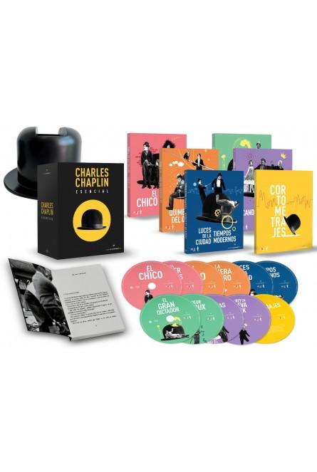 Charles Chaplin Esencial  Pack 11 BDs con 10 Largos y 7 Cortos + Figura de Sombrero + Libro + 11 Horas de Extras